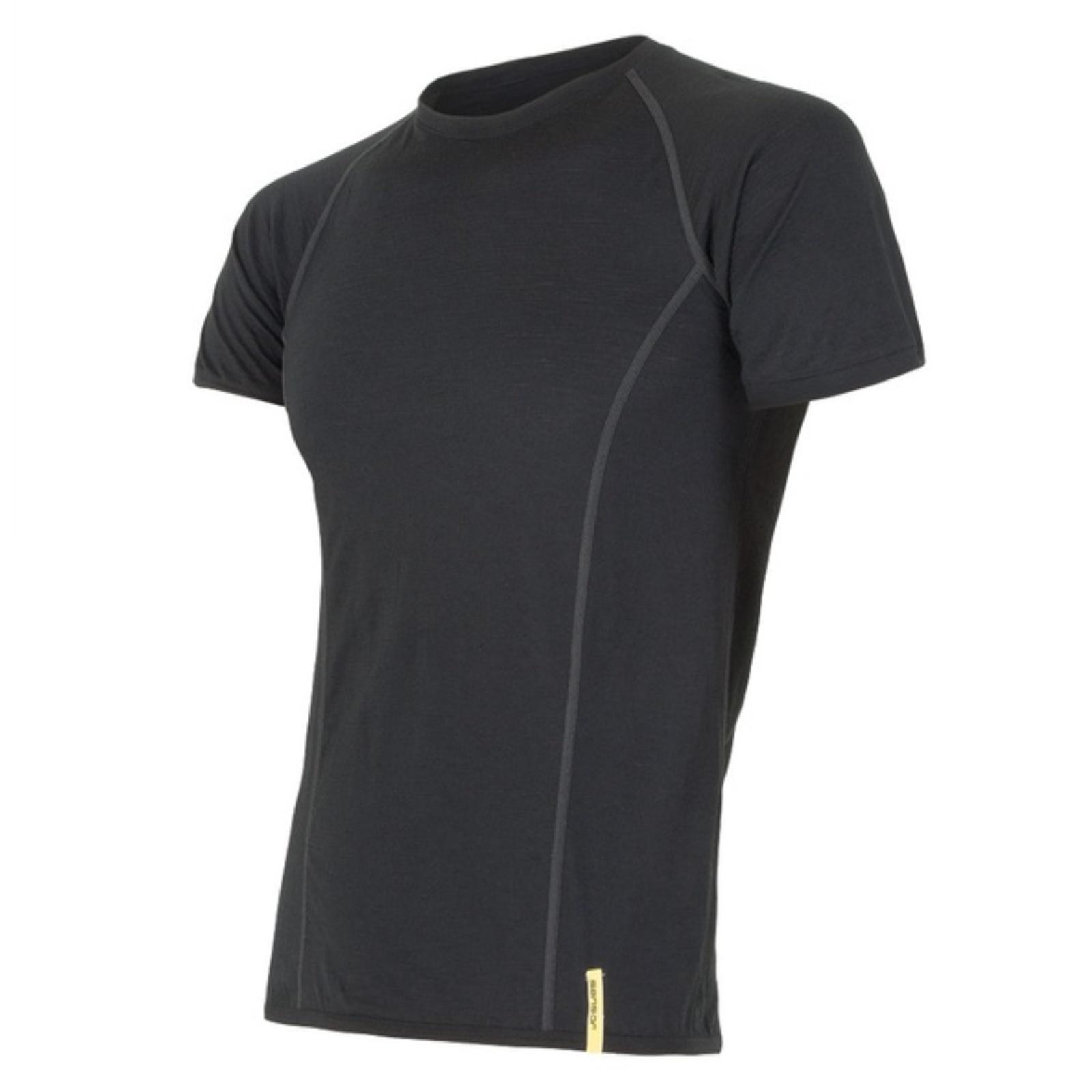 Tričko krátky rukáv SENSOR Merino Wool pánske čierne