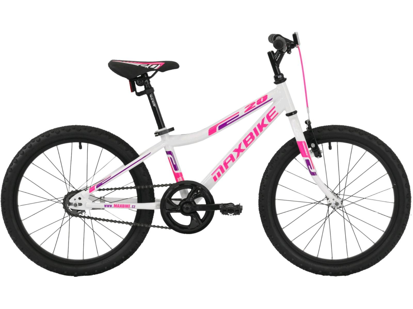 """Detský bicykel MAXBIKE Junior Basic 20"""" - biele"""
