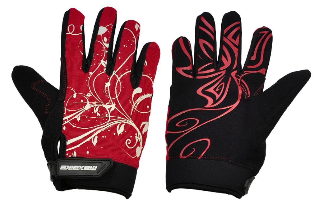 Cyklo rukavice MAXBIKE dámske celoprsté veľ. M čierno-červené