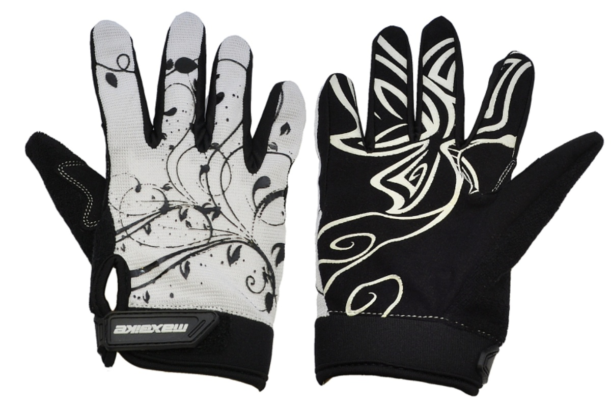 Cyklo rukavice MAXBIKE dámske celoprsté veľ. XL bielo-čierne