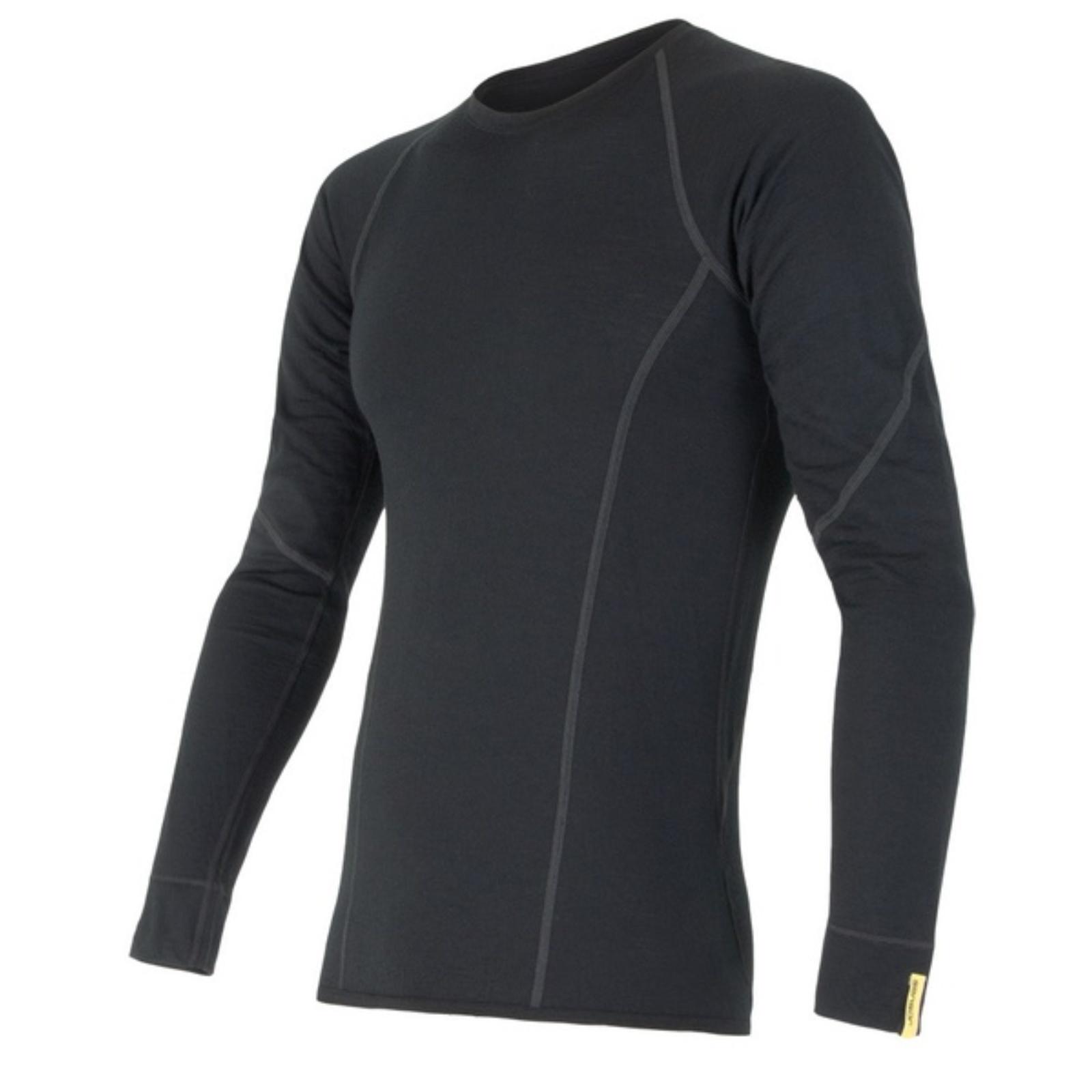 Tričko dlhý rukáv SENSOR Merino Wool Active pánske čierne