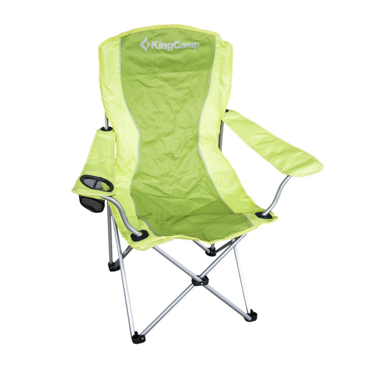 Campingová skladacia stolička KING CAMP oceľová s opierkami - zelená