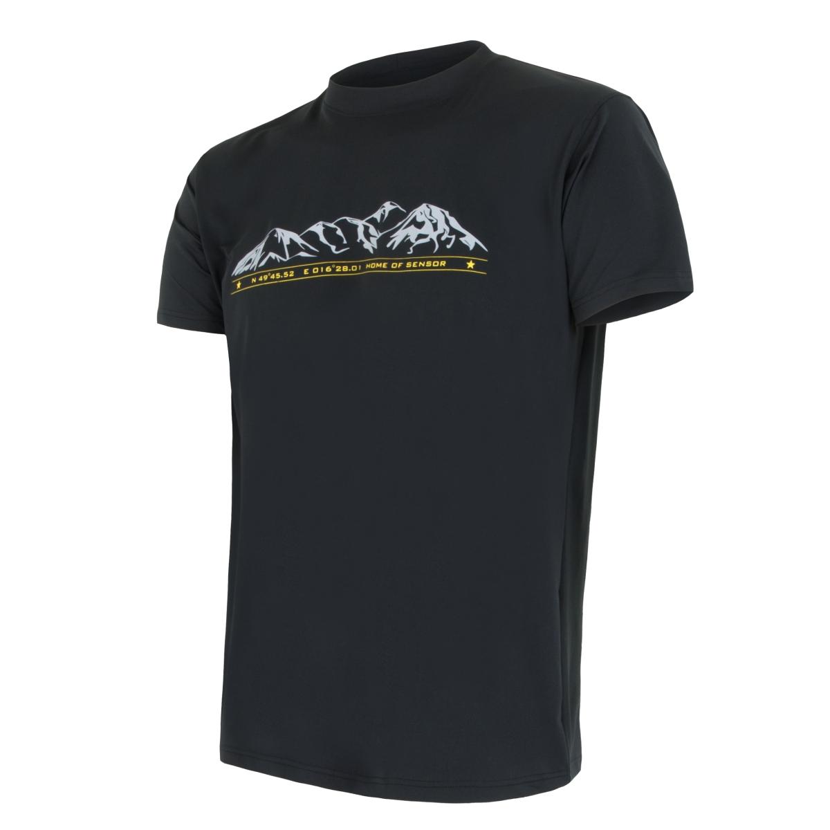 Tričko krátky rukáv SENSOR Performance Hory pánske čierne