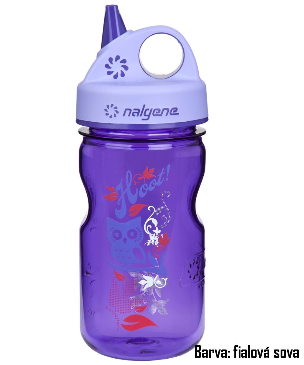 Fľaša NALGENE Kids Grip'n Gulp 0,350 l - fialová sova