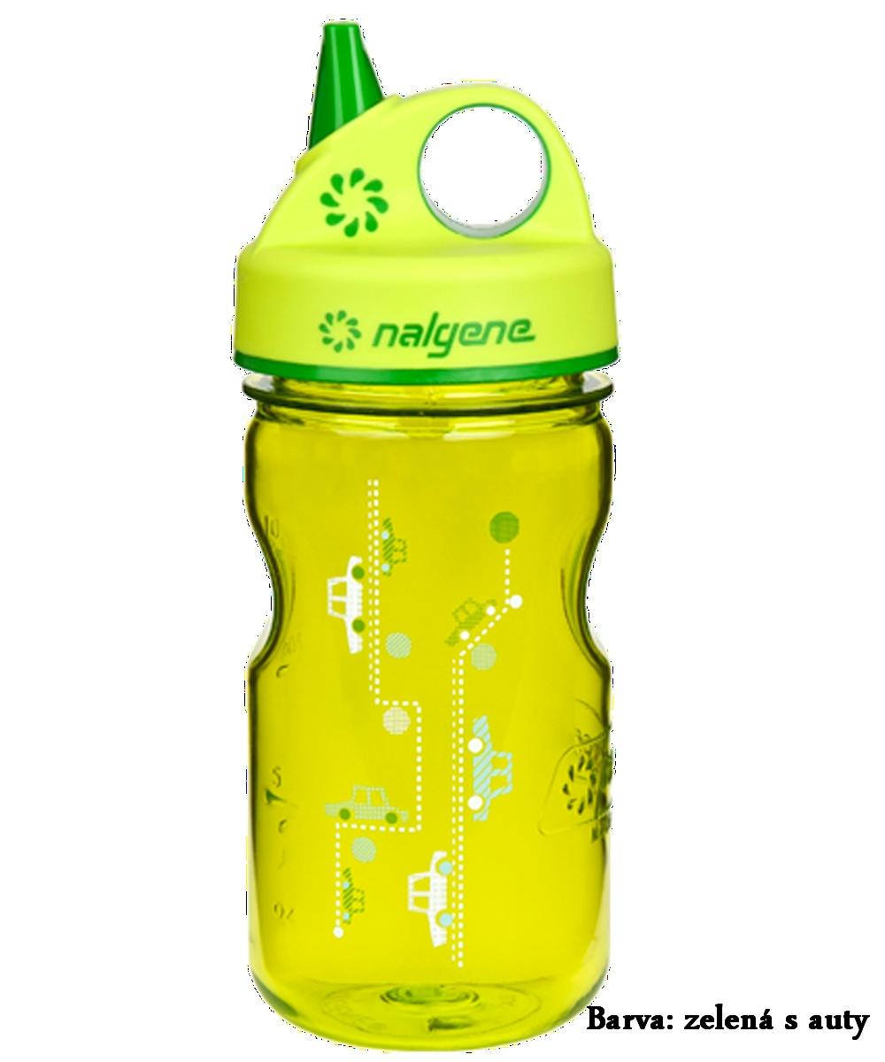 Fľaša NALGENE Kids Grip'n Gulp 0,350 l - zelená s autami