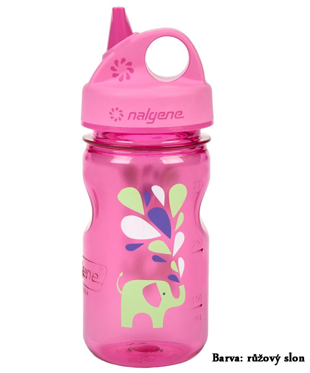 Fľaša NALGENE Kids Grip'n Gulp 0,350 l - ružový slon
