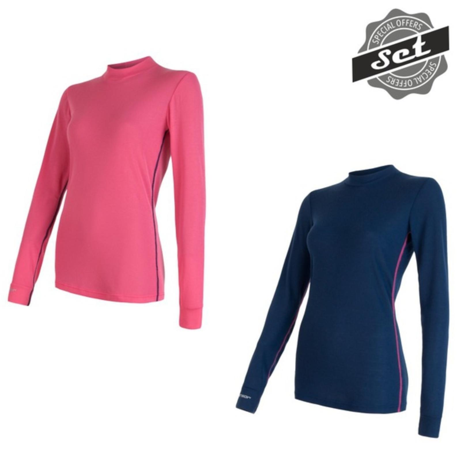 Tričko dlhý rukáv SENSOR Original Active set dámske modré + ružové