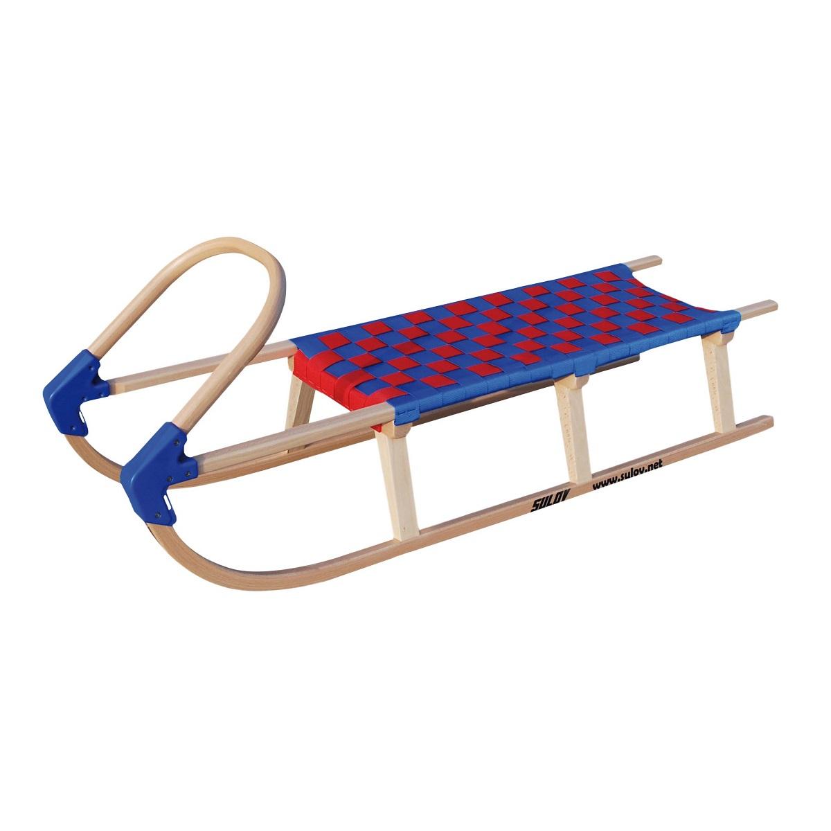 Sane drevené SULOV Lavina diaľka 125 cm - modro-červené