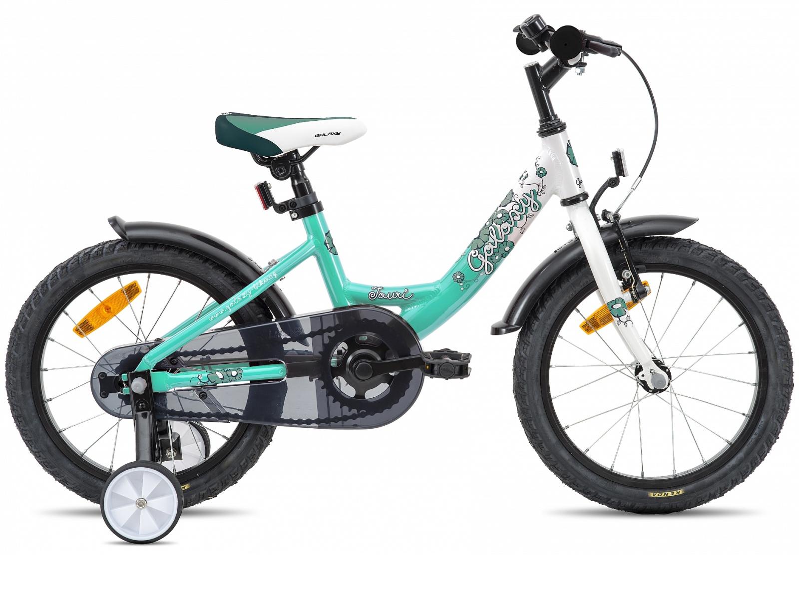 """Detský bicykel GALAXY Tauri 16"""" bielo-tyrkysové"""