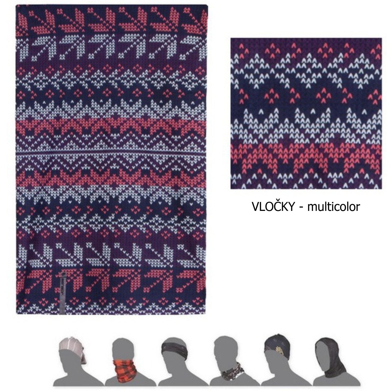 šátek roura SENSOR TUBE VLOČKY multicolor