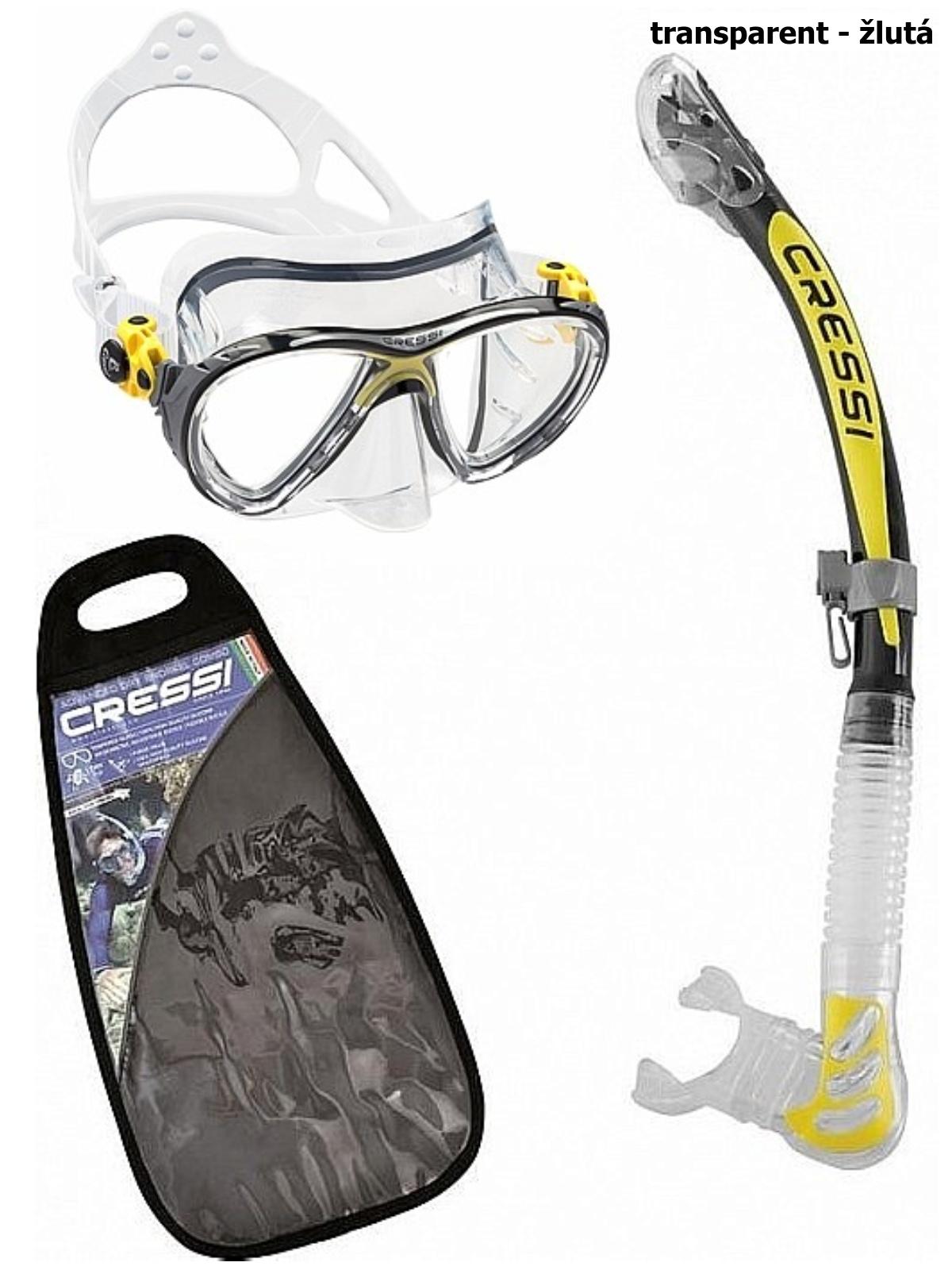 Potápačský set CRESSI Big Eyes+Alpha Ultra Dry - transparent žltý