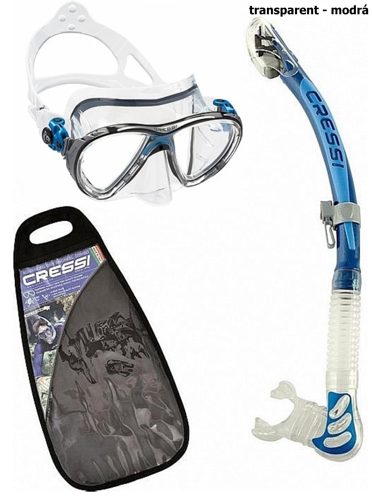 Potápačský set CRESSI Big Eyes+Alpha Ultra Dry - transparent modrý