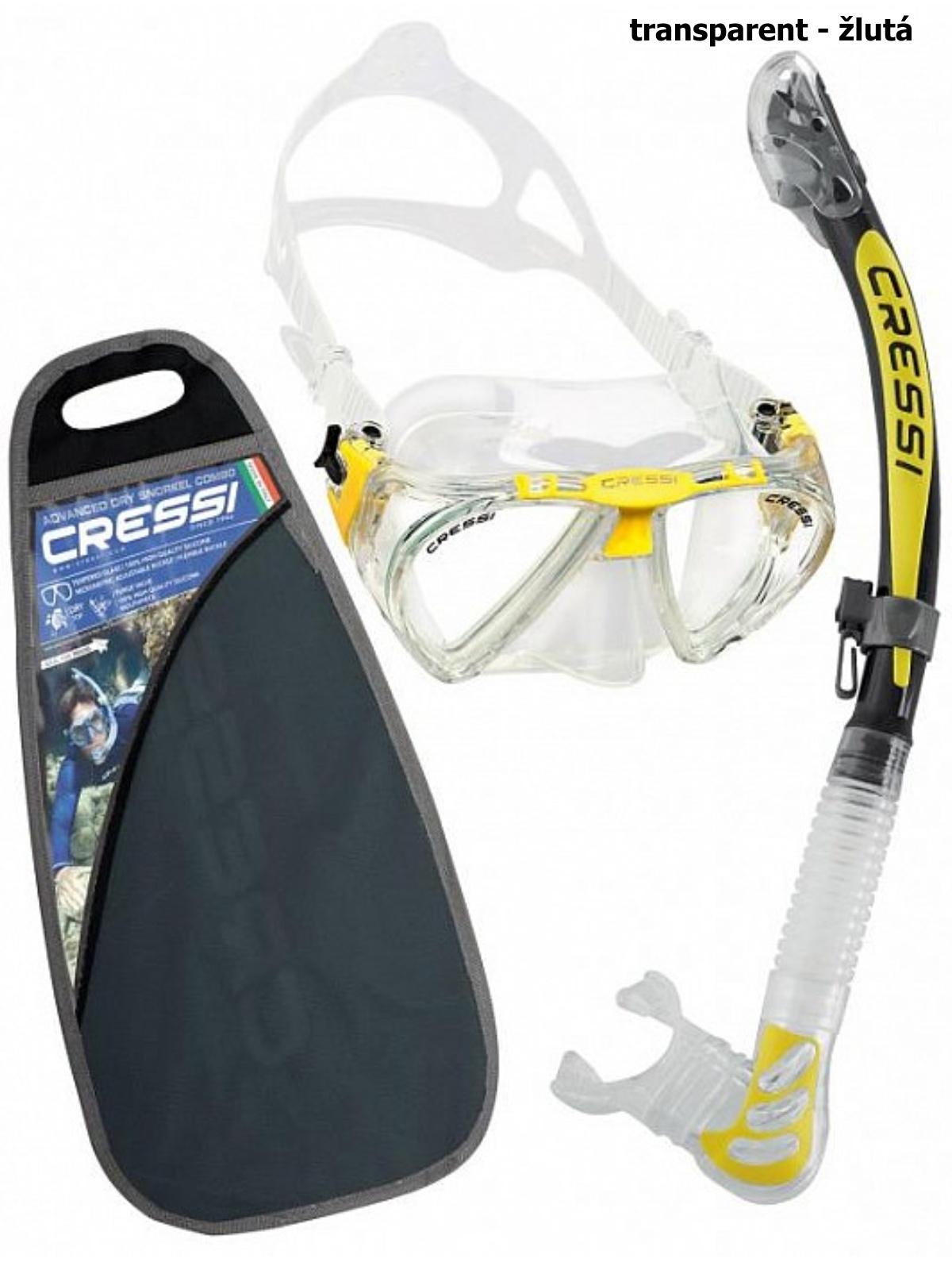Potápačský set CRESSI Penta+Alpha Ultra Dry - transparent žltý