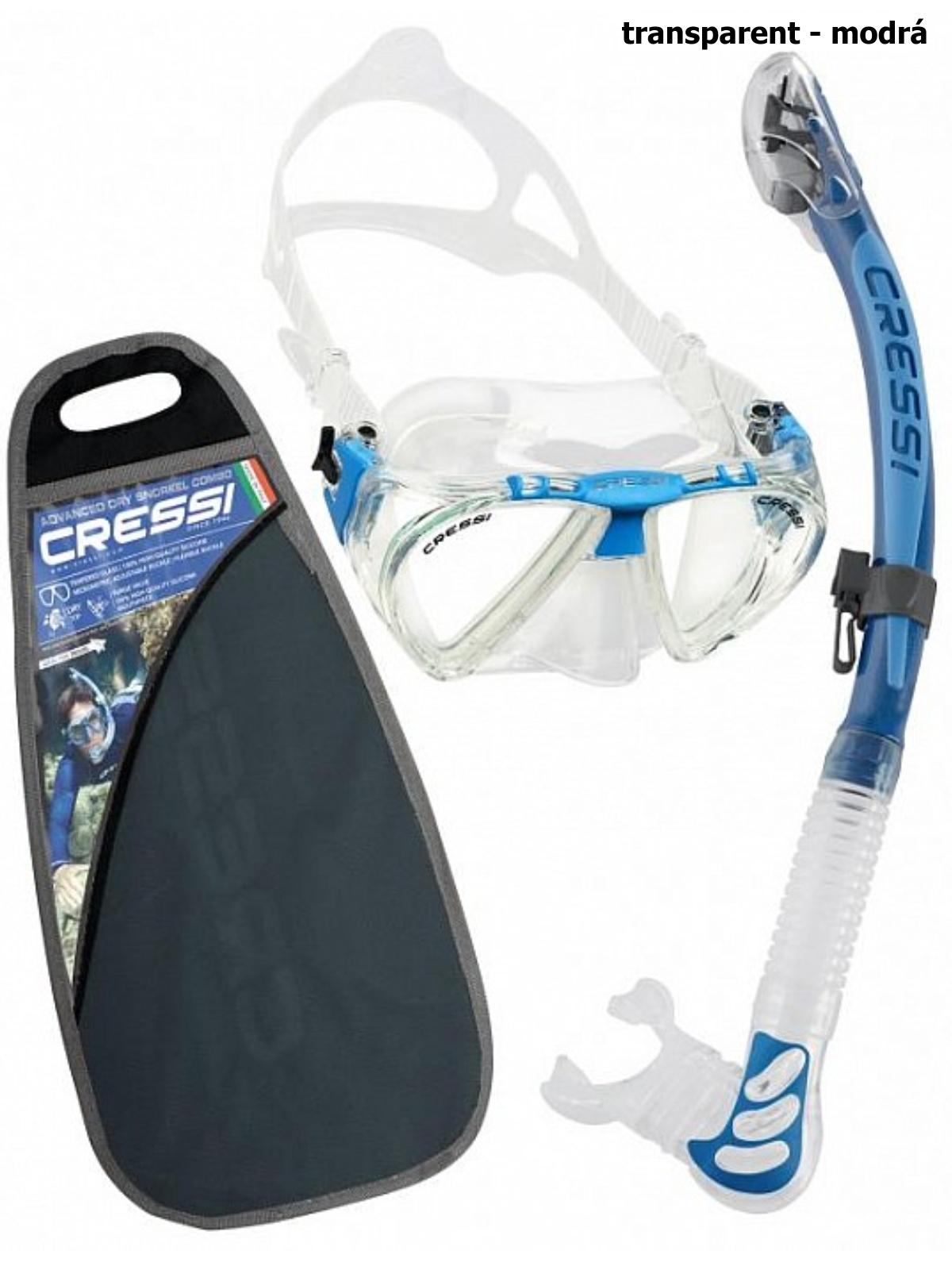 Potápačský set CRESSI Penta+Alpha Ultra Dry - transparent modrý
