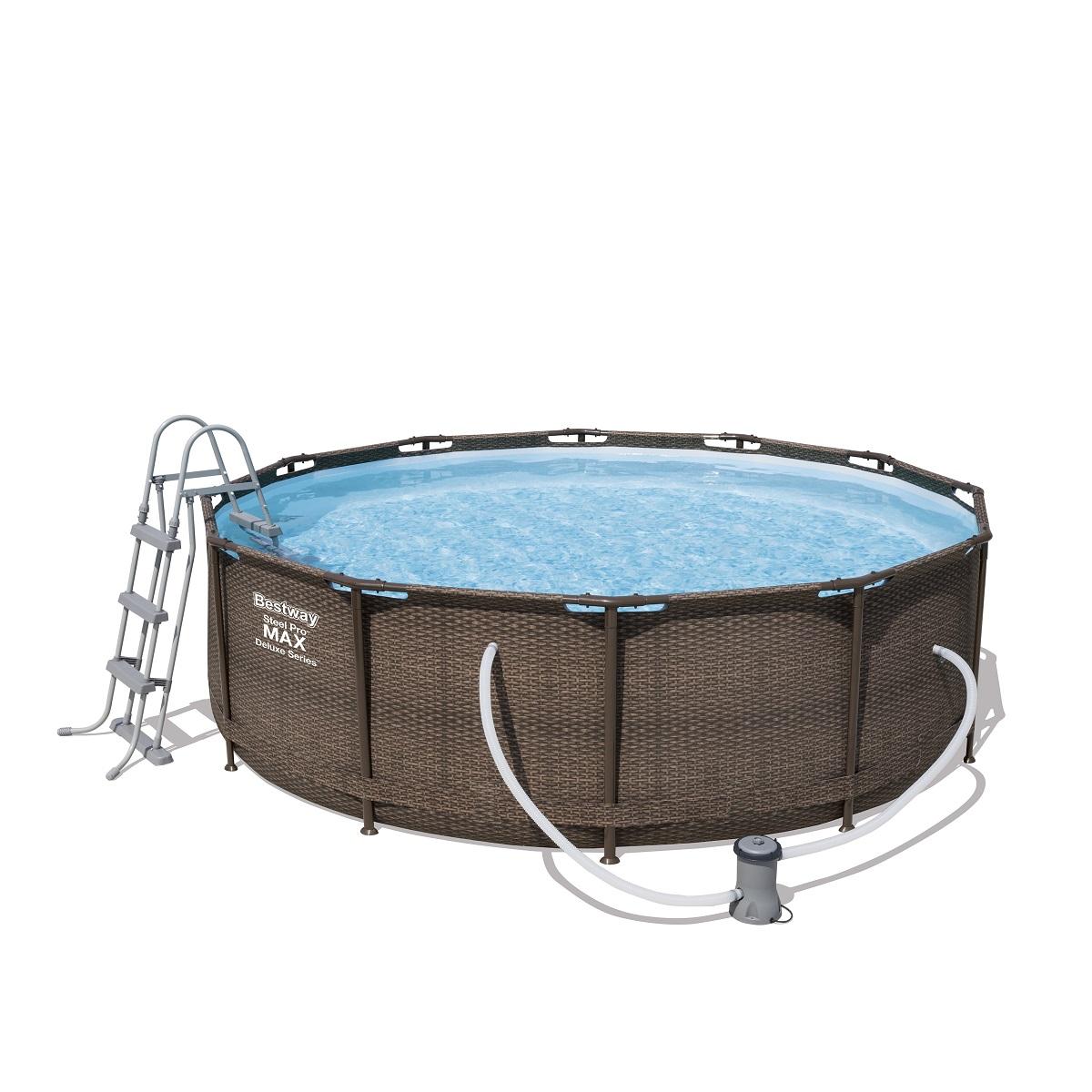 Bazén Steel Pro Max Deluxe 366 x 100 cm set s kartušovou filtráciou - hnedý