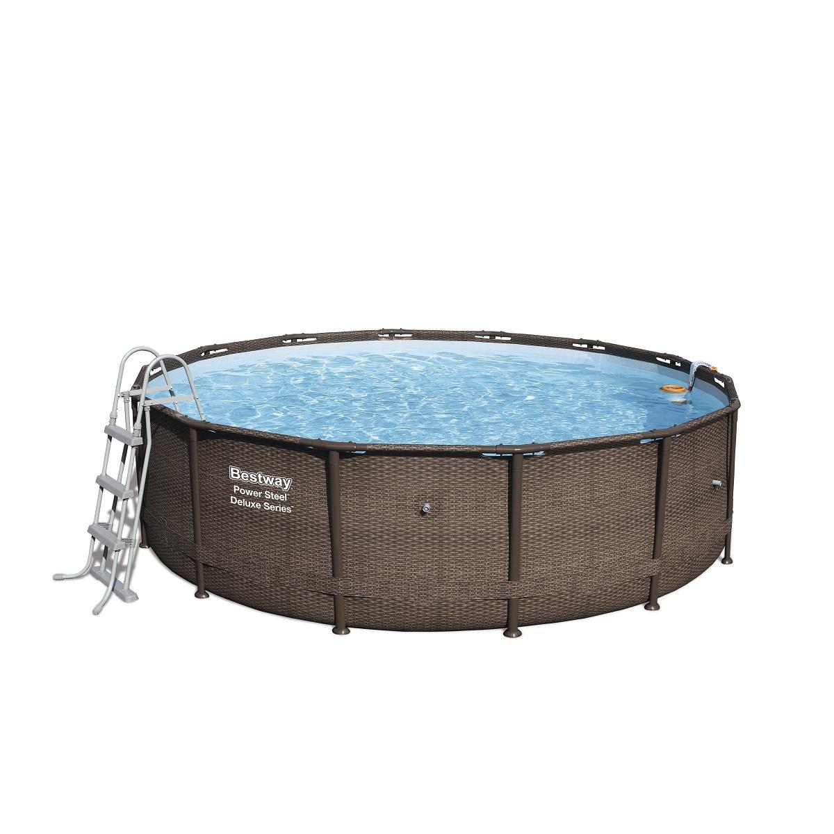 Bazén BESTWAY Power Steel Deluxe 427 x 107 cm set s filtráciou - hnedý