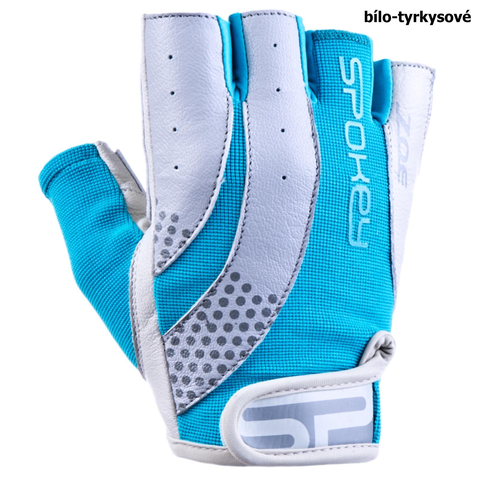 Fitness rukavice SPOKEY Zoe II bielo-tyrkysové - veľ. M
