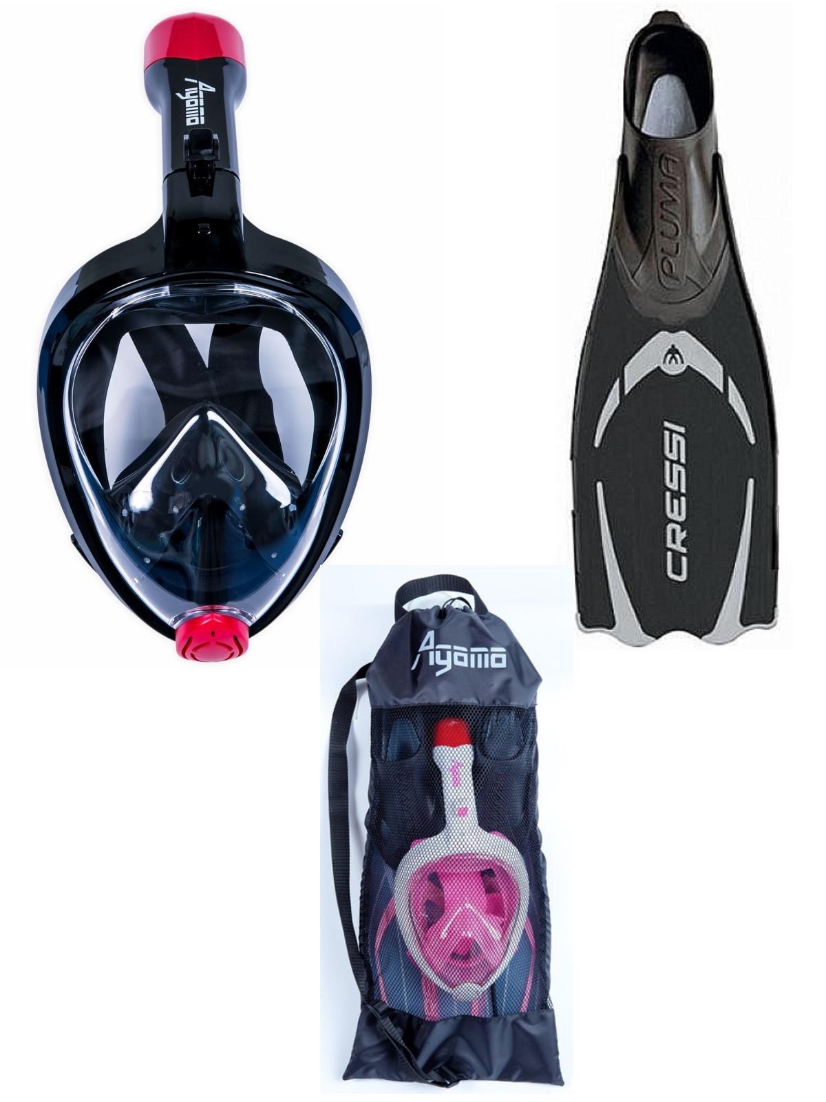 Šnorchlovací set AGAMA - čierny