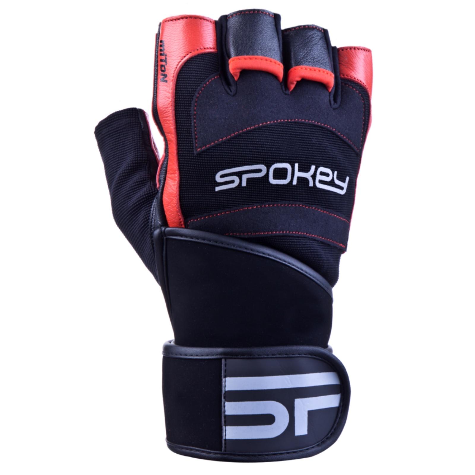 Fitness rukavice SPOKEY Miton čierno-červené - veľ. M