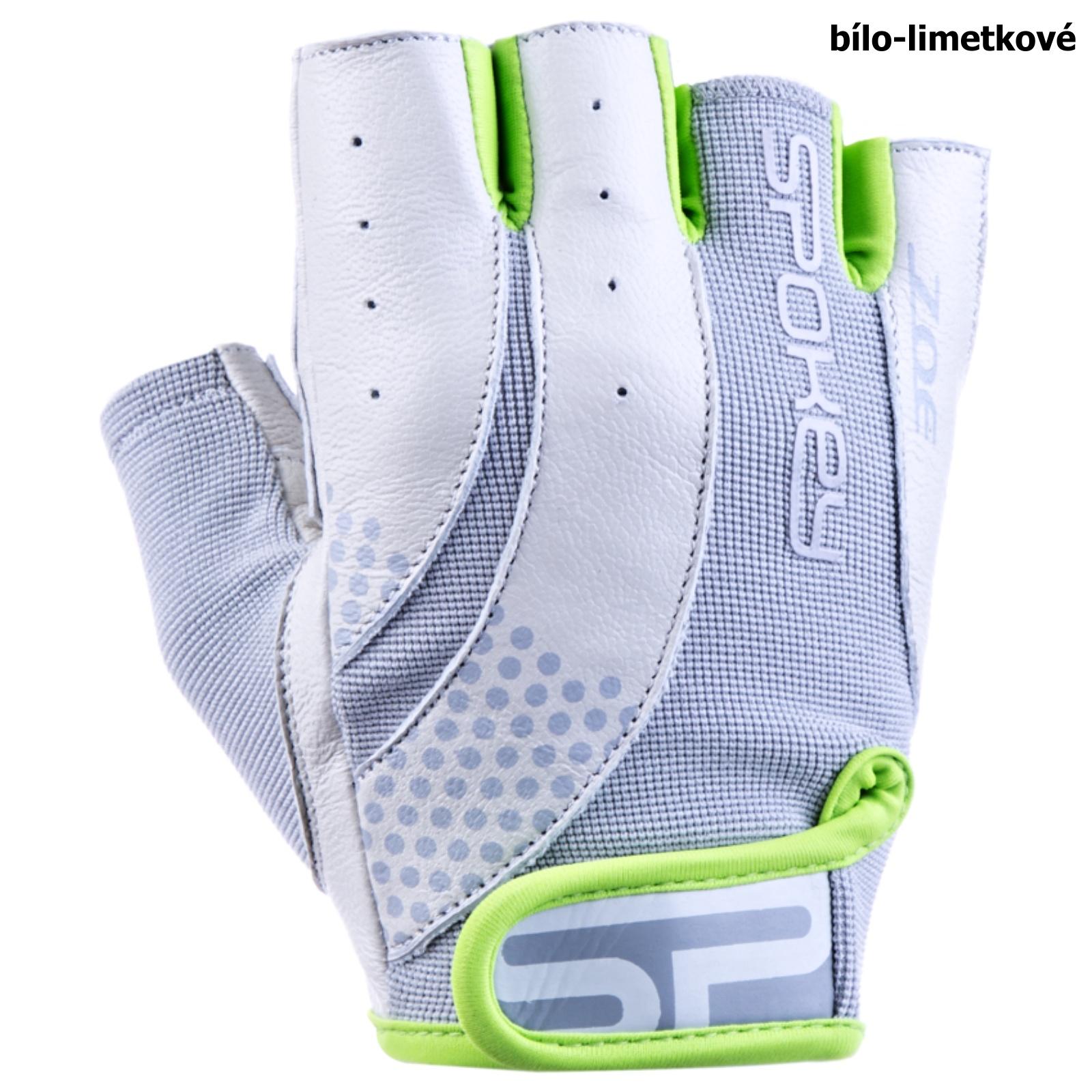 Fitness rukavice SPOKEY Zoe II bielo-limetkové - veľ. L