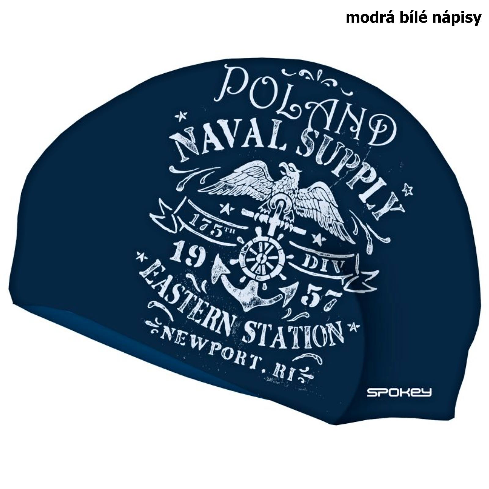 Plavecká čiapka SPOKEY Stylo - modrá biele nápisy