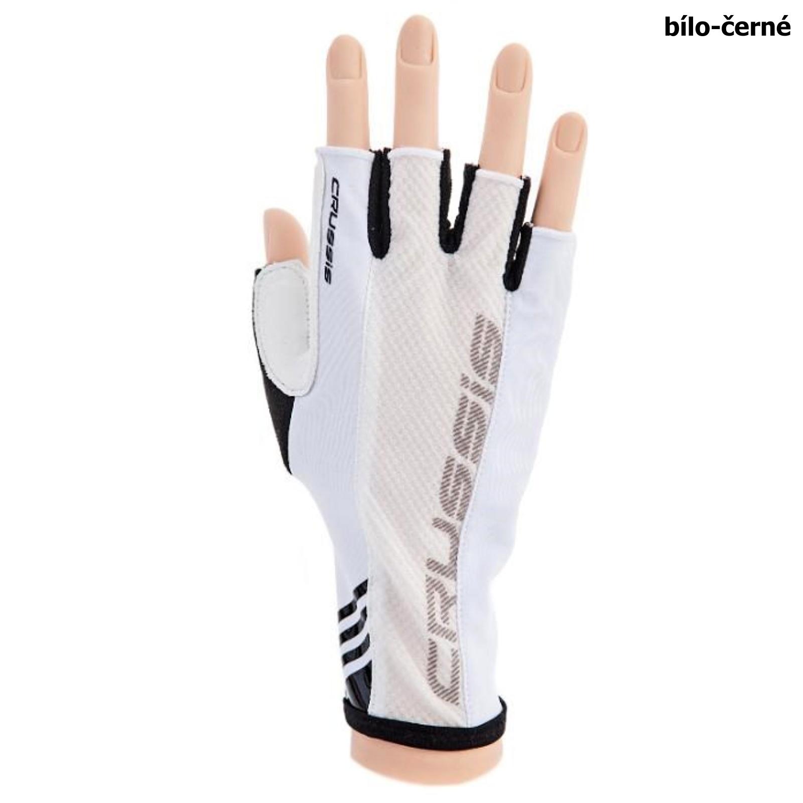Cyklo rukavice CRUSSIS bielo-čierne, veľ. M