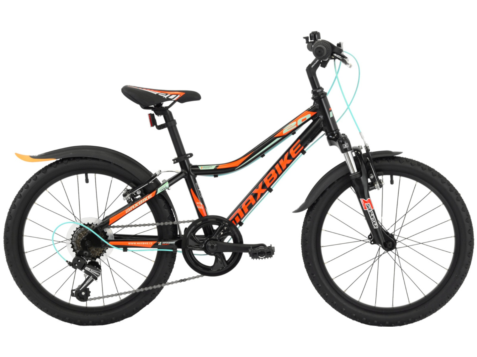 "Detský bicykel MAXBIKE Junior 20 ""SF - matne čierny"