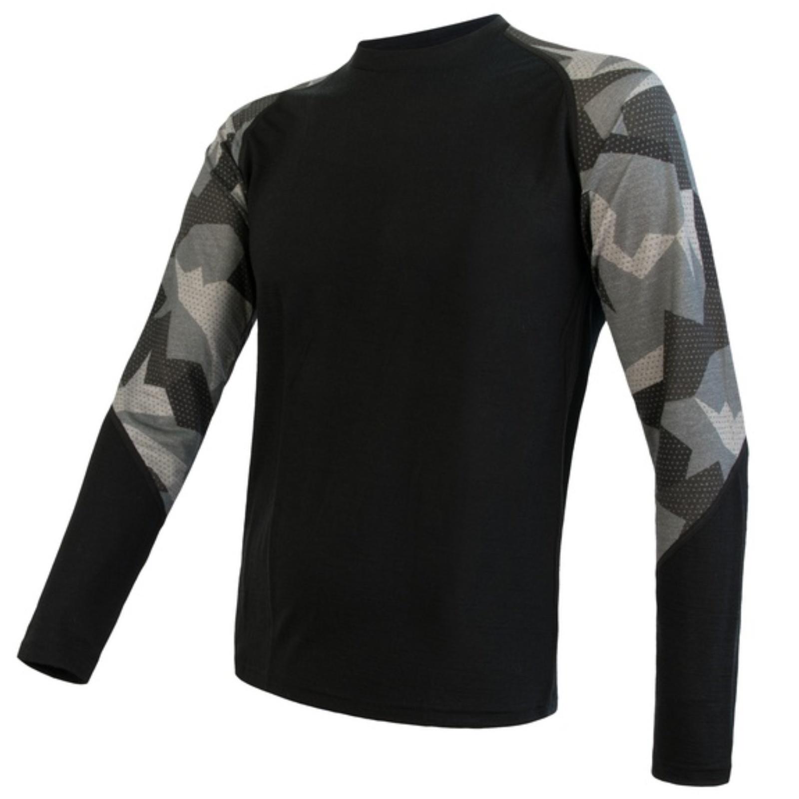 Tričko dlhý rukáv SENSOR Merino Impress pánske čierne