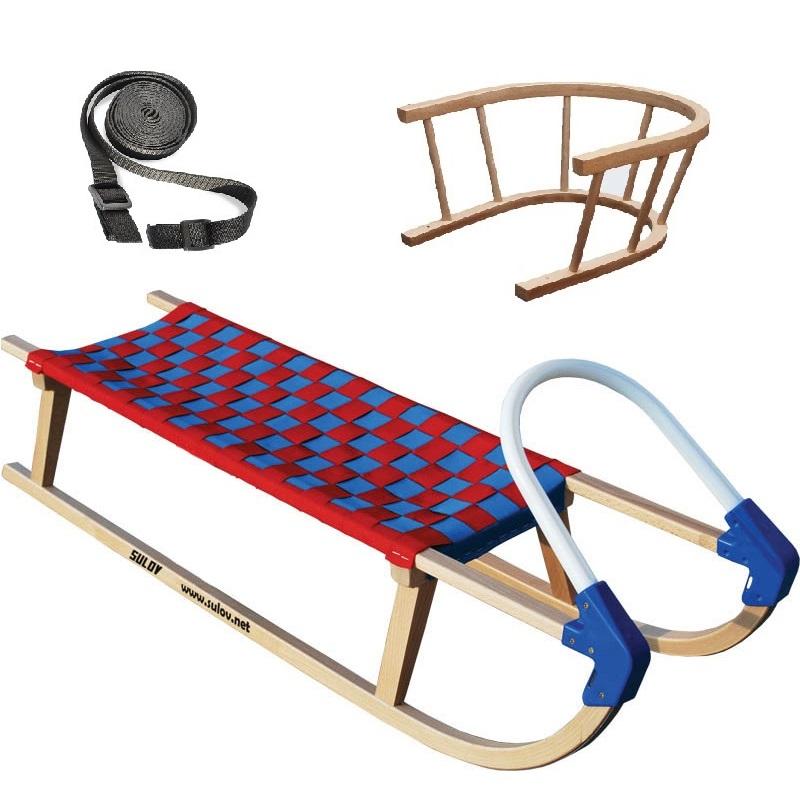 Sane drevené SULOV Lavina dĺžka 110 cm + ohrádka + popruh - modro-červené