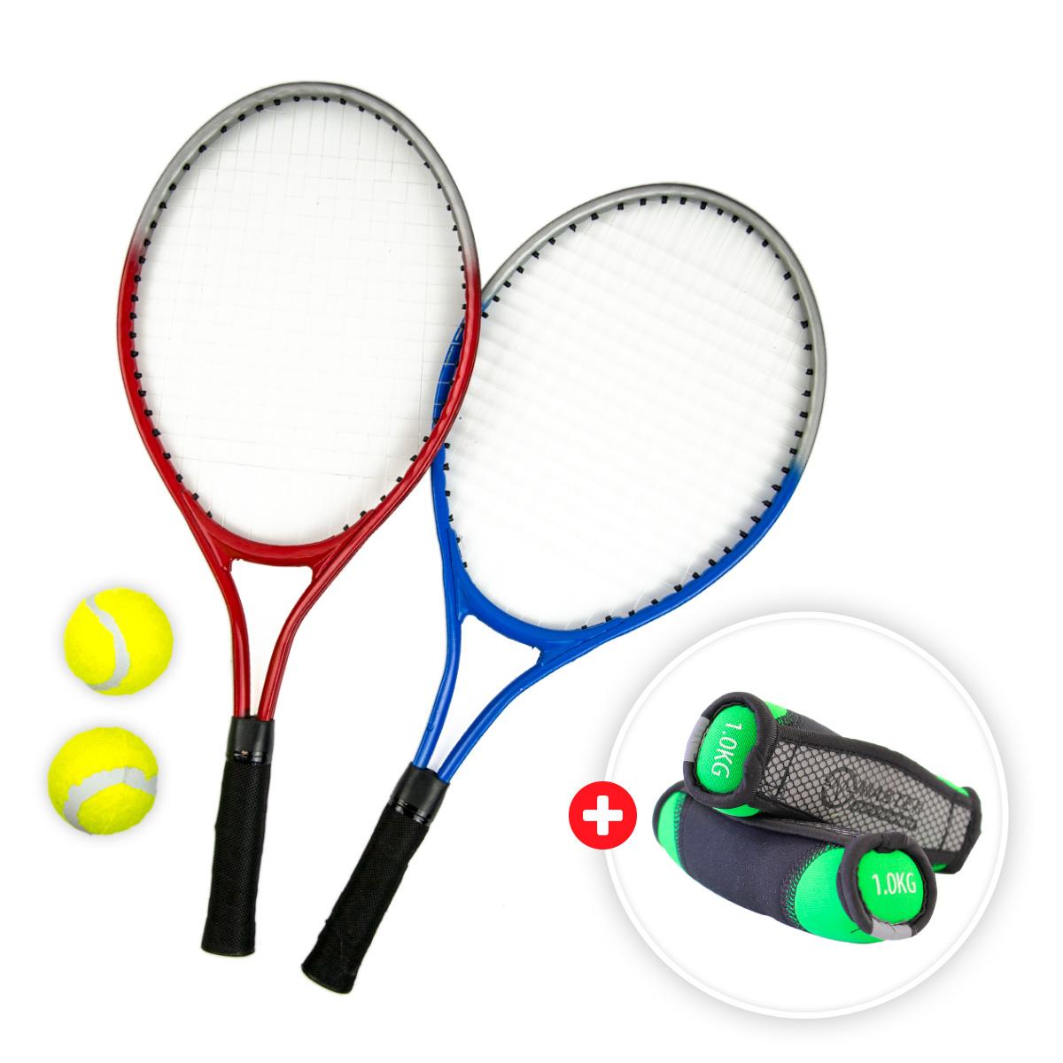 Akčný set - tenisový set MASTER Mini so sieťou + neoprénové činky MASTER Jogging 2 x 1 kg