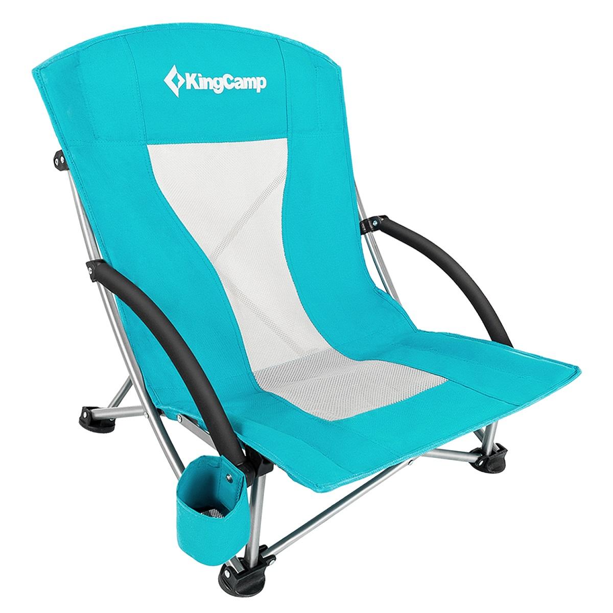 Kempingová skladacia stolička KING CAMP Deluxe s opierkami oceľ - tyrkysová