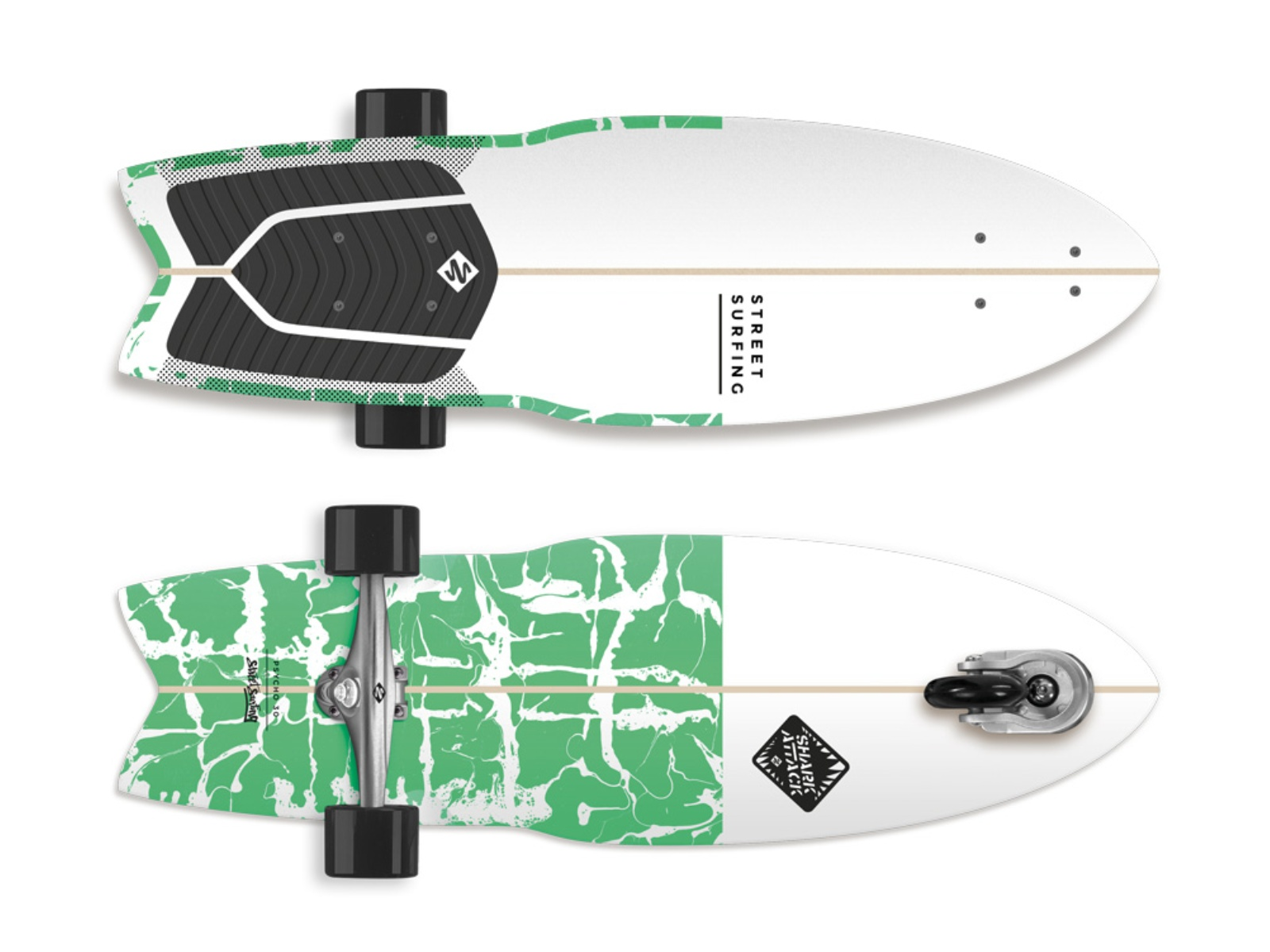 Longboard STREET SURFING Shark Attack 30 Psycho Green