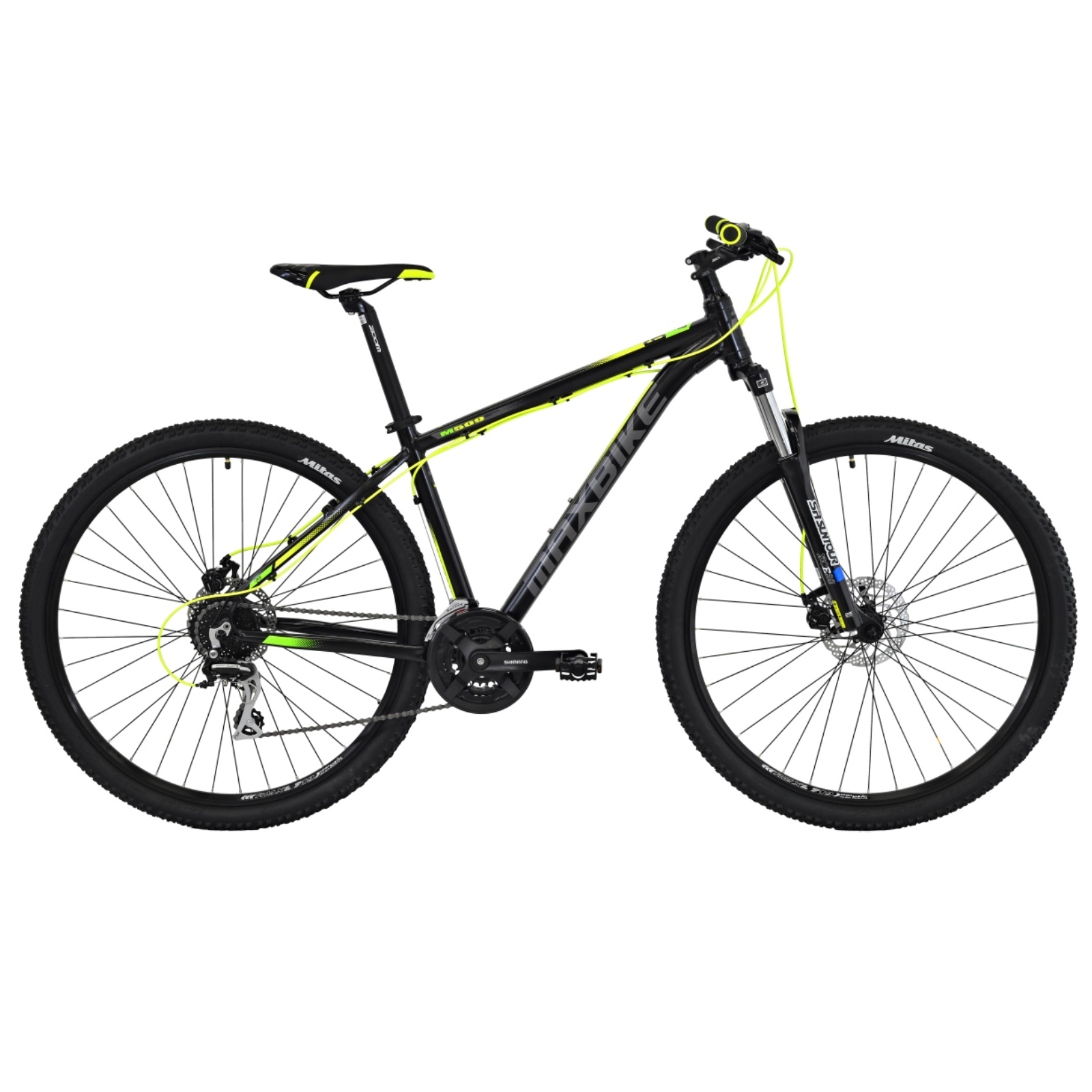 """Horský bicykel MAXBIKE Apo 29 čierno-zelený - veľ. rámu 21"""""""