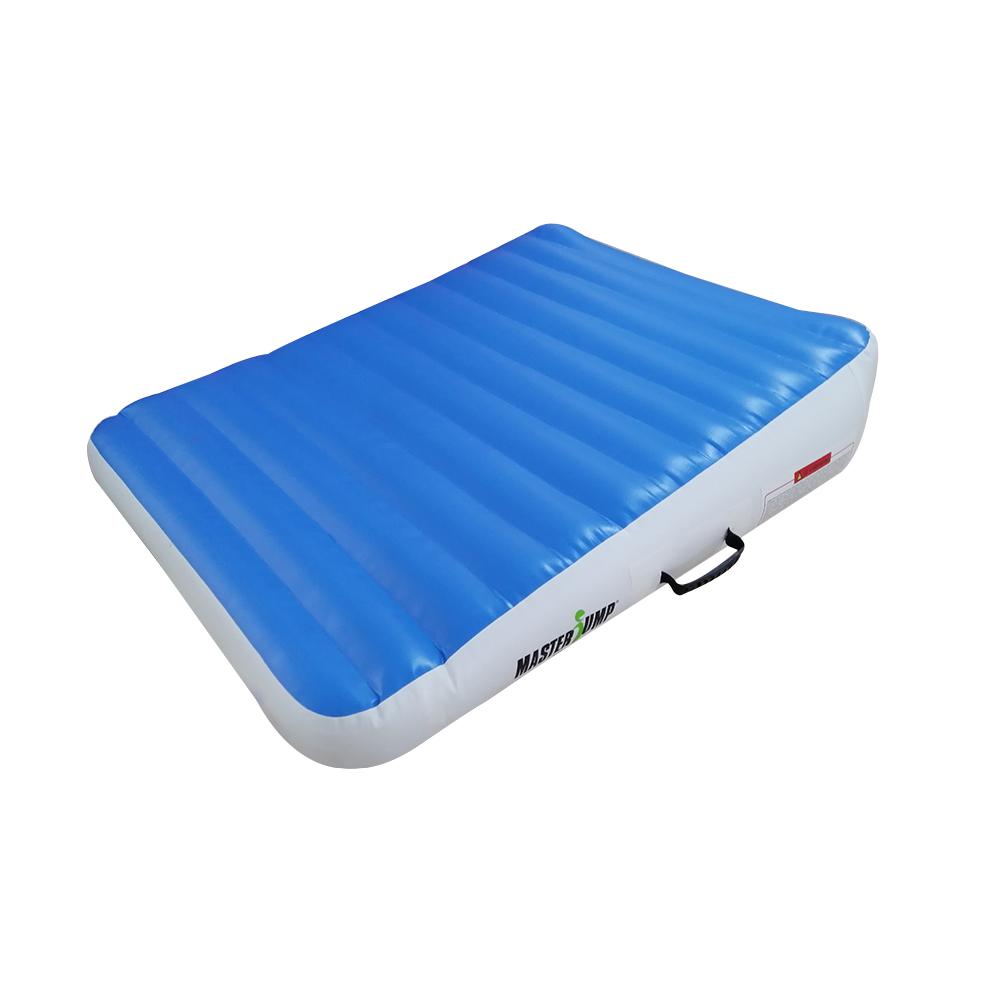 Incline mat MASTERJUMP nafukovací klin 180 x 120 x 20-65 cm - modrá - biela