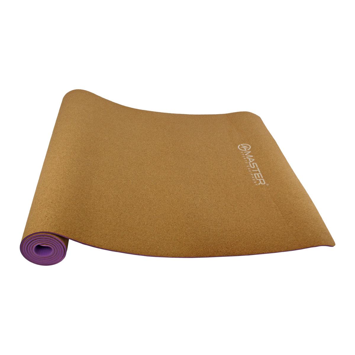 Podložka na cvičenie MASTER Yoga 4 mm - 183 x 61 cm - korková - fialová
