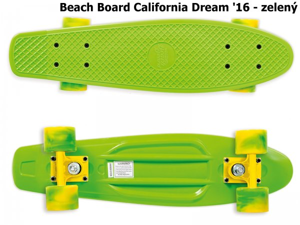 Skateboard STREET SURFING Beach Board California Dream - zelený