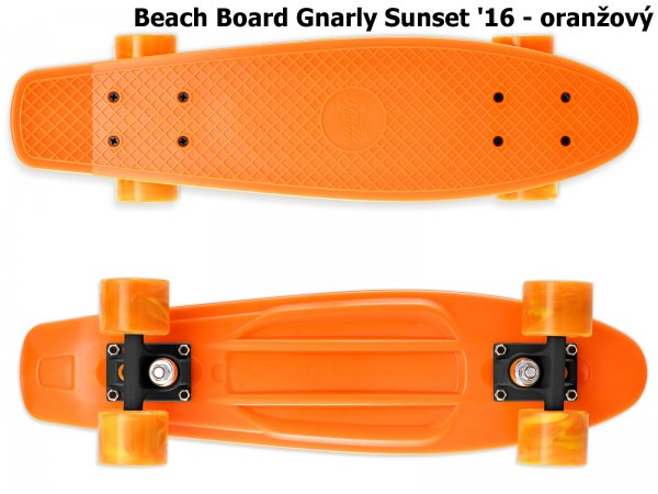 Skateboard STREET SURFING Beach Board Gnarly Sunset - oranžový