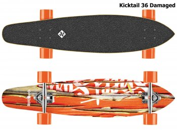 Longboard STREET SURFING Kicktail 36 Damaged - oranžový